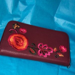 Boho floral wine faux leather wallet clutch